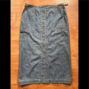 Ralph Lauren slit front button up denim maxi skirt